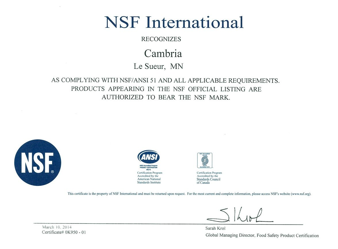 Cambria's NSF certificate